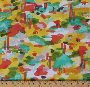 "48"" Cotton/Lycra Jersey Knit Sunshine Serenade Soiree Watercolor Multi Abstract Knit Fabric Print By the Yard (9671R-6N)"