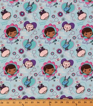 "Doc McStuffins ""That Will Cost You One Hug"" Blue Doctor Equipment Hearts Heart Flowers Flower Stuffed Animals Words Polyester Cotton Blend Kids Fabric By the Yard (2281S-3N-blue)"
