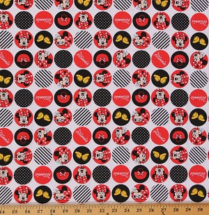 Minnie Mouse Dot Icons Circles Circle Disney Polyester Cotton Blend Fabric Print By the Yard (2281S-3N-white)