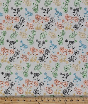 Cotton Blend Jersey Multi Bikes Bike Bicycles Biking Racing White Stretch Knit Fabric by the Yard (2628F-7N)