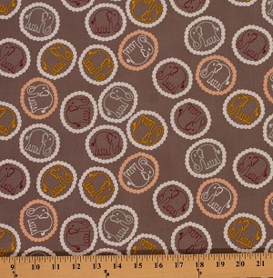 Cotton Valori Wells Bridgette Lane Bouncing Elephants Circles Animals Cotton Fabric Print by Yard PWVW060-Honey Tea