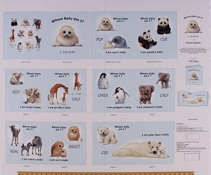 "35"" X 44"" Panel Animal Friends Baby Animals ""Whose Baby Am I?"" Soft Book Blue Cotton Fabric Panel (7302-Blue)"