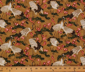 Cotton Northcott Mandolin Cranes Bonsai Blossoms Birds Flowers Cotton Fabric Print by the Yard 20508M-35
