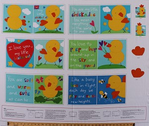 "35.25"" X 44"" Panel Huggable & Loveable ""My Little Chickadee"" Bird Birds Cute Kids Soft Book Cotton Fabric Panel (3361P)"