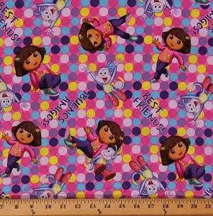 Cotton Dora The Explorer Boots Best Friends Dots Cartoons Cotton Fabric Print By The Yard 8545d