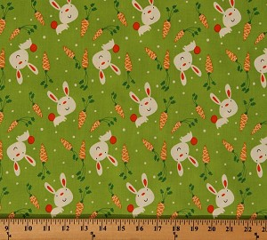 Cotton Bunny Carrots Animals Cotton Fabric Print by the Yard ZD-55739-001