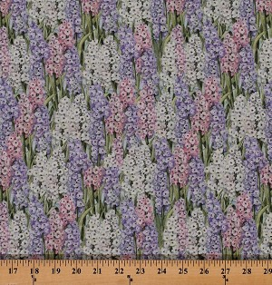 Cotton Primrose Lane Hyacinths Flowers Floral Garden Cotton Fabric Print by the Yard 55923-A620715