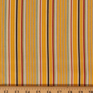 "Cotton Aunt Grace ""Ties One On"" Yellow Stripe Cotton Fabric Print by Yard (R37-5366-0130)"
