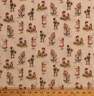 Cotton Darcy Yesteryear Children at Play Cotton Fabric Print by the Yard 37163-1