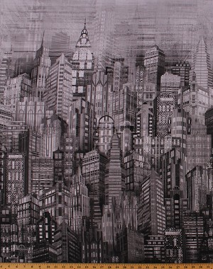 Cotton Steel City Sky Line Cityscape Gray Urban Cotton Fabric Print by Yard (N4234-296-STEEL)