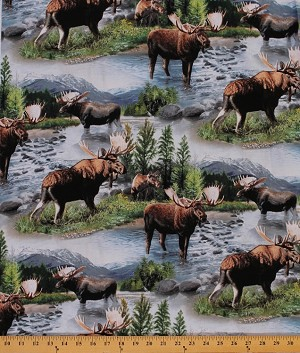 Cotton Bull Moose Nature Scenic Wildlife Animals Lake Massepequa Cotton Fabric Print by the Yard (62287-A620715)