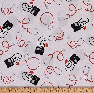 Cotton Stethoscope Medical Equipment Blood Pressure Gauge Calling All Nurses Cotton Fabric Print by the Yard (37304-2)