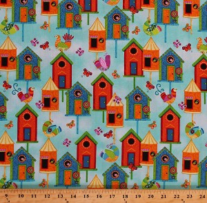 Cotton Birdhouses Birds Butterflies Whimsical Folk Country Charm on Aqua Blue Flight Of Fancy Cotton Fabric Print by the Yard (3387-16)