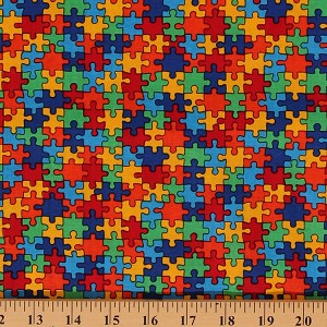 Cotton Puzzle Pieces Autism Awareness Multi-Colored Cotton Fabric Print by Yard (C1653)