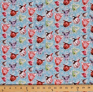 Cotton Cats Animals Pets Feline Kids Cotton Fabric Print by the Yard (PWKD071-Blue)