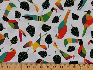 Cotton Rio Toucan Birds Leaves Cotton Fabric Print By the Yard 8210-X