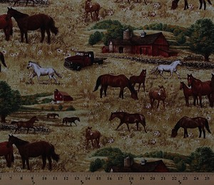 Cotton Horses Barns Trucks Country Fields Farm Animals Cotton Fabric Print by the Yard (greg-c9500-natural)
