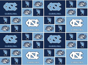 Cotton University of North Carolina Tarheels College Team Cotton Fabric Print (nc-020)