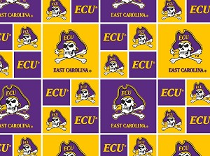 Cotton East Carolina University Pirates College Team Cotton Fabric Print (ecu-020)