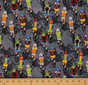 Cotton Bikes Bikers Cycling Races Racing Sports Athletics Gray Cotton Fabric Print by the Yard (Gail-c4657-grey)