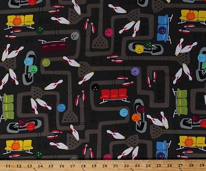 Cotton Kingpin Bowling Alley Pins Falling Balls Shoes Bowling Equipment Scoreboard Gray Graphite Games Party Cotton Fabric Print by the Yard (SAMARRA-C9724-GRAPHITE)