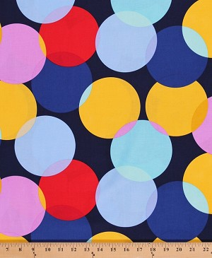 Cotton Paintbox Circles Circle Big Dots Yellow Blue Red Pink Cotton Fabric Print by the Yard (DC5859-NAVY-D)
