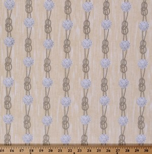 Cotton Sea Rigging Seashells Rope Seaside Sailor Seashore White Straw Cotton Fabric Print by the Yard (DC5985-STRA-D)