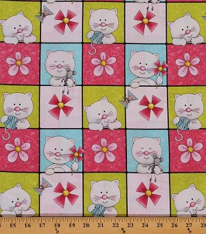 Cotton Miss Kitty's Colors Kittens Cats in Squares Cotton Fabric Print by the Yard (6410-21)