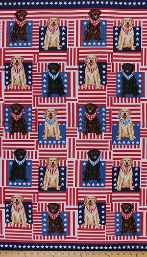 "23.5"" X 44"" Panel Patriotic Labradors Dogs Dog Fourth Of July Independence Day Canine Cotton Fabric Panel (DOG-C3515)"