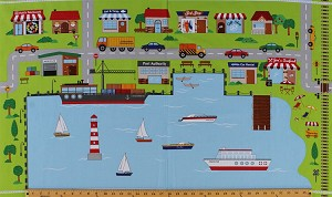 "23.5"" X 42"" Cotton Panel ""Connector Playmats"" At the Harbor Boats Town Cars Shops Cruise Ship Rowboat Roadmaps Cotton Fabric Panel (21143-42)"
