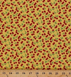 Cotton Cherries Cherry Fruit Picnic Farmer's Market Food Kitchen Culinary Spring Summer 30's Playtime Cotton Fabric Print by the Yard (32790-15)