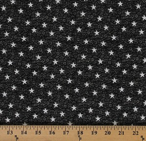 Cotton By the Sea Nautical Stars White Stars on Charcoal Cotton Fabric Print by the Yard (04616-99)