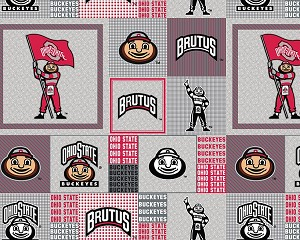 Ohio State University Buckeyes Brutus Grey Patchwork College Fleece Fabric Print by the Yard