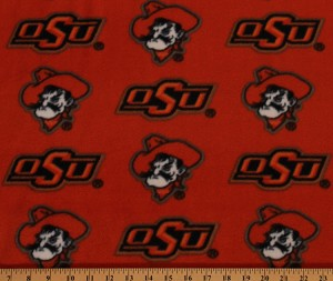 Fleece Oklahoma State University Cowboys Print College Fleece Fabric By the Yard - Orange