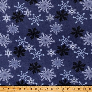 Fleece (not for masks) Snowflakes on Blue Winter Christmas Holiday Festive Fleece Fabric Print by the Yard (8827M-8D-blue)