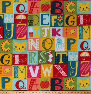 Fleece Alpha Blocks Alphabet ABC's Pictures Learning Letters Colorful Kids Fleece Fabric Print by the Yard k42308B