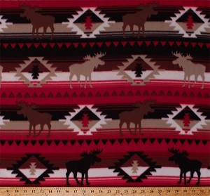 Fleece Moose Crossing Up North North Woods Cabin Camping Animals Wildlife Southwestern Stripe Native American Aztec Red Fleece Fabric Print by the Yard (47727-1b)