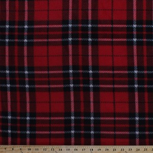 Fleece (not for masks) Classic Plaid Black Red White Fleece Fabric Print by the Yard (o17063b)