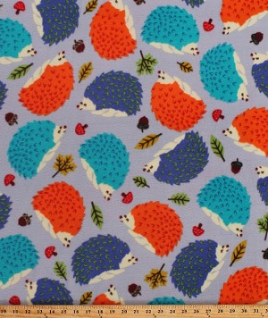 Fleece (not for masks) Hedgehogs Cute Woodland Animals Fall Autumn Multi-Color Leaves Acorns Mushrooms on Gray Fleece Fabric Print by the Yard (50734-1b)