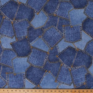 Fleece (not for masks) Pockets Denim-Look Blue Jeans Jean Pockets Fleece Fabric Print by the Yard (41020b)