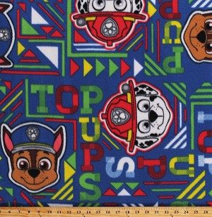 Fleece Paw Patrol Top Pups Geo Chase Marshall Rescue Dogs Kids Children's Navy Blue Fleece Fabric Print by the Yard (PW-4162-7A-2NAVY/GREEN)