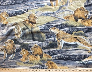Lion Pride Lions Lioness Fleece Fabric Print by the Yard a32616b