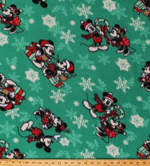 Fleece Mickey Mouse and Minnie Mouse Christmas Scenes Snowflakes on Green Disney Holiday Fleece Fabric Print by the Yard (61057-647078)