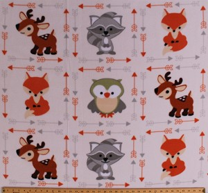 Fleece Foxes Raccoons Owls Deer Woodland Forest Animals Arrows Buddies on Cream Fleece Fabric Print by the Yard (DT5369-ma-1d)