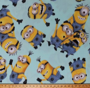 Fleece (not for masks) Minions Despicable Me Characters Kids Children's Mint Polar Fleece Fabric Print by the Yard (8030-77879-Q)