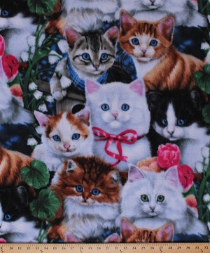 Fleece Valentine's Kittens Cats Kitty Kitties Roses Flowers Animals Valentine's Day Fleece Fabric Print by the Yard (AL-2003-MA-1MULTI)