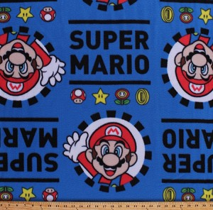 Fleece Super Mario Video Games Gaming Character Coins Mushrooms Power-Ups Stars Nintendo Hey Mario Blue Fleece Fabric Print by the Yard (63882-1600710s)
