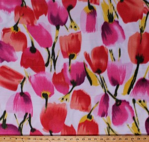 Fleece Tulips Tossed Tulip Flowers Spring Floral on White Fleece Fabric Print by the Yard (4902M-12A-tulipswhite)