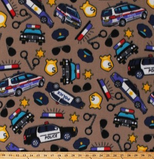 Fleece Police Cars Handcuffs Badges Police Officers Cops Law Enforcement Brown Fleece Fabric Print by the Yard (6308M-10B-police)