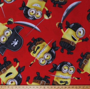 Fleece Minions Pirates Despicable Me Characters on Red Fleece Fabric Print by the Yard (7720M-9C-red)